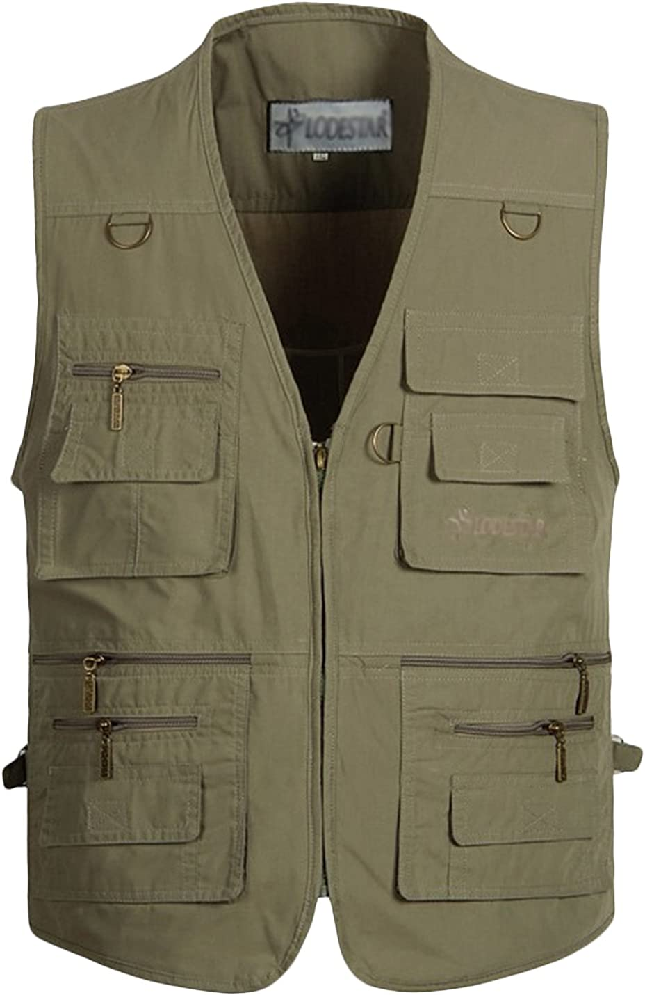 Uaneo Men's Lightweight Outdoor Photography Fishing Vest Jacket with Multi Pockets (Army Green, XX-Large)