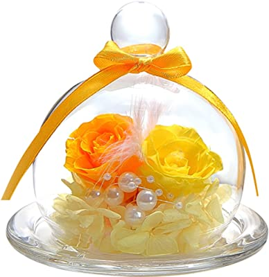 ティートサイト プリザーブドフラワー フラワーアレンジ ラッピング済み ガラスポット入り 2輪 (バラ イエロー×オレンジ)