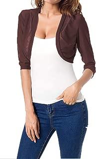 Women's 3/4 Sleeve Bolero Sheer Chiffon Shrug Cardigan