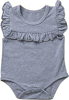 طفلة تكدرت بلا أكمام السروال القصير الوليد الطفل الفتيات الصلبة playsuit بذلة طفل ملابس (Color : Gray, Kid Size : 6M)