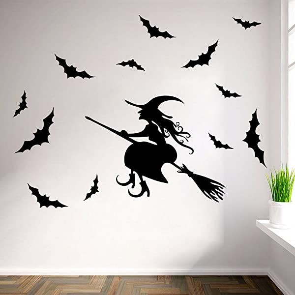 FinerMe Happy Halloween DIY Removable Wall Sticker For Shop Home Window Glass Witch Riding A Broom With Bats Kids Room Nursery Decorations