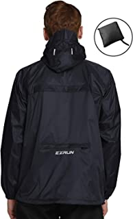 EZRUN Men's Waterproof Hooded Rain Jacket Windbreaker Lightweight Packable Raincoat