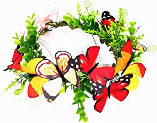 Colorful Buterflies Crown Butterfly Headband Hair Wreath Floral Garland Crown Headpiece