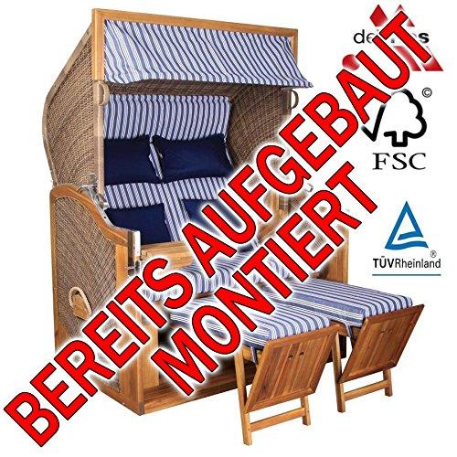Vries de BEREITS MONTIERT ! STRANDKORB Devries Pure GREENLINE 170 XL Dessin 711, FSC-Zertifiziert