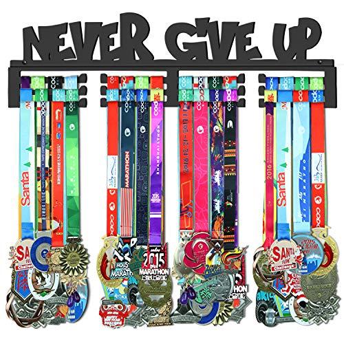 GENOVESE Never Give Up Medaillenhalter, Aufhänger, Gestell aus superstabilem schwarzem Stahl, Wandmontage für über 70 Sportmedaillen