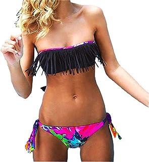 comprar comparacion Conjuntos De Bikini Rayas Talle Alto Retro Brasile?os Mujer Sexy Traje De Ba?o Cuello Halter Strapless Off Shoulder Bra To...