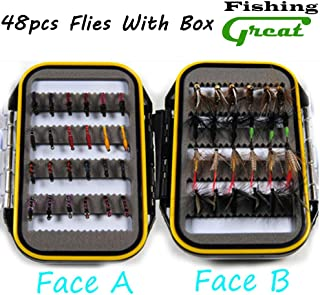 Greatfishing 24/48pc Choice Flies Combo Set Fly Fishing Lure Dry, Super Sturdy Wet Flies Nymph Artifical Pesca Carp Spring Pesca Assortment Flies with Tackle Box