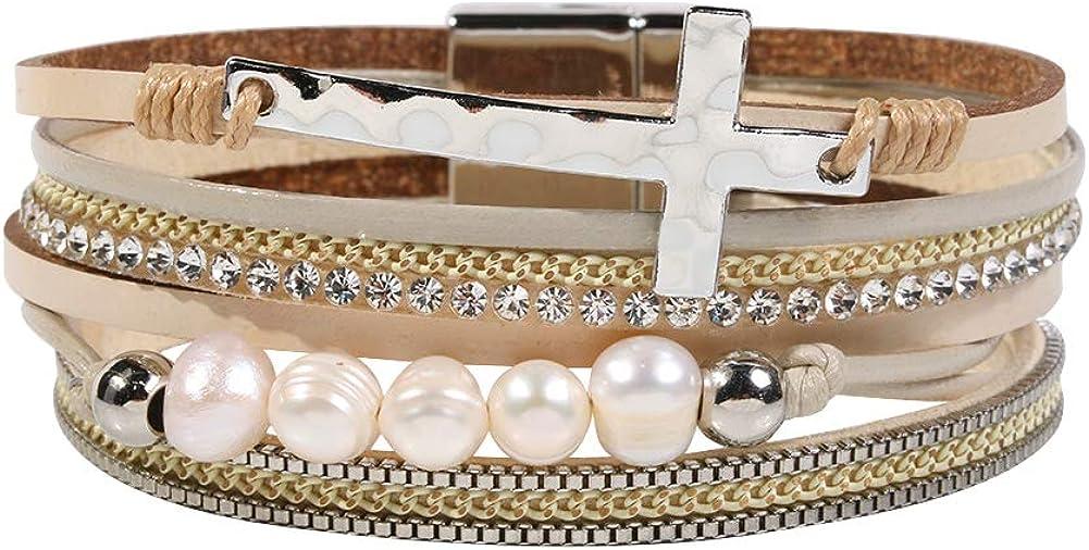 Vercret Leather Wrap Bracelet for Women - Multi-Layer Bracelets for Girl, Ideal Gift Bracelet for Women, Big Sister, Mom……