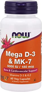 Now Supplements, Mega D-3 & MK-7 with Vitamins D-3 & K-2, 60 Veg Capsules