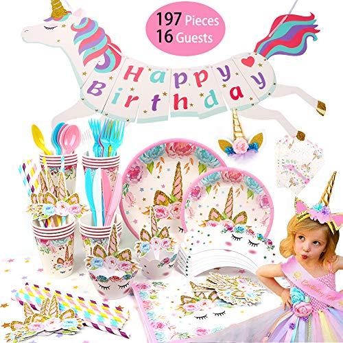 Schatzboot 197pcs Gebutstag Party Set Einhorn Party Zubehör Einweg Pink Mädchen Einhorn Geburtstag Geschirr Kit Teller Becher für 16 Kinder Geschenk,Kindergeburtstag,Party Deko (Pink)