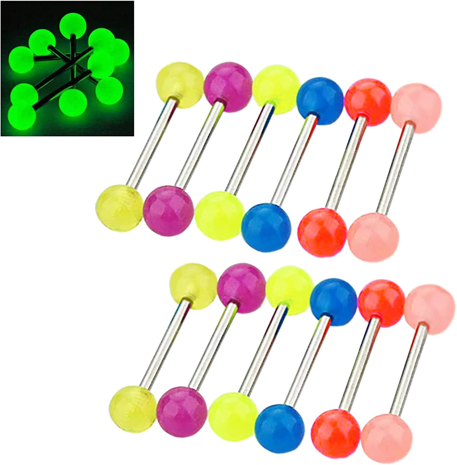 CHARMONLINE Tongue Rings Barbell Nipple Bars 12Pcs Glow in The Dark 14G Bioflex Acrylic or Stainless Steel Piercing Rings Jewelry