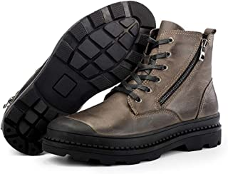 Mens Work Boots,Outdoor Walking Hiking Desert Combat Boots Plush Lining Lace up Biker Boots,Brown A- 40/UK 7/US 7.5