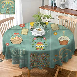 Easter Home Round Tablecloth Kitchen Dinning Tabletop Decoration Eggs Cupcake and Basket Polyester Round Tablecloth Durable - 43