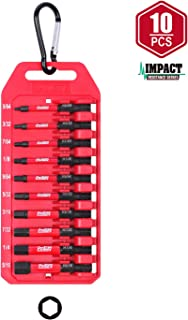 Protorq Impact Bit Set W/clip, Hex head drive bits, SAE, 10-Piece, 2 Inch Length, Hex Head Allen Wrench Drill Bit Set, 1/4