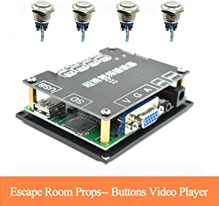 Escape Room Props Hd Video Player Press 4 Buttons to Play 4 Different Videos Support VGA ,SD Card ,USB Interface for Videos Most Formats