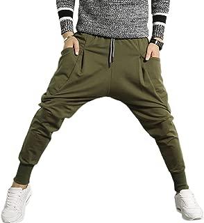 Slim Fit Mens Cotton Jogging Pants Low Crotch Drawstring Baggy Sweatpants Hip Hop Trousers