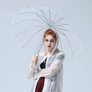 QYSZYG Household Umbrella Thicken Transparent Umbrella Creative Fresh Umbrella Thick Umbrella Umbrella White, Transparent Umbrella (Color : Clear)