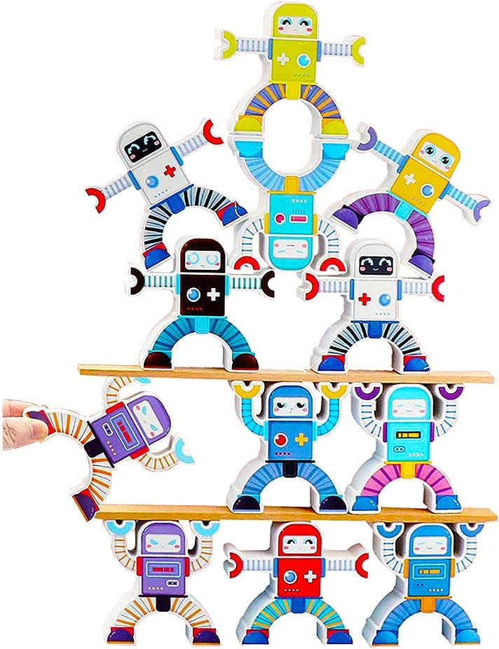 Wooden Robot Sorting Stacking Balancing Toy Sale price sale Buildi Puzzle Block