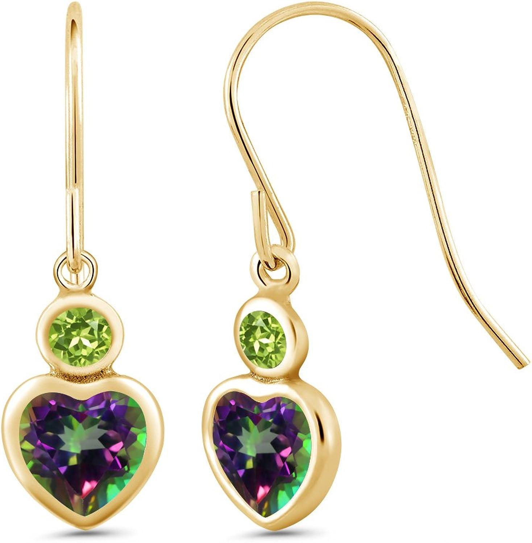1.44 Ct Heart Shape Green Mystic Topaz Green Peridot 14K Yellow gold Earrings