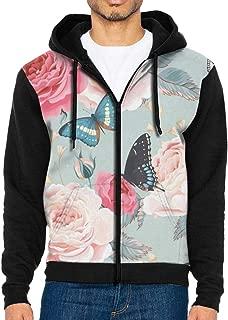 Men's Full-Zip Hoodie Butterflies in Grass Sweatshirt Lightweight