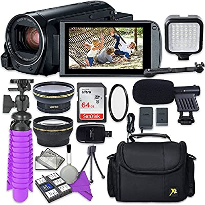 Canon VIXIA HF R800 Camcorder with Sandisk 64 GB SD Memory Card + 2.2X Telephoto Lens + 0.42x Wideangle Lens + Video Accessory Bundle by Canon