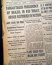 BRAZILIAN REVOLUTION Getúlio Vargas Military Coup & Old Republic 1930 Newspaper THE NEW YORK TIMES, October 27, 1930
