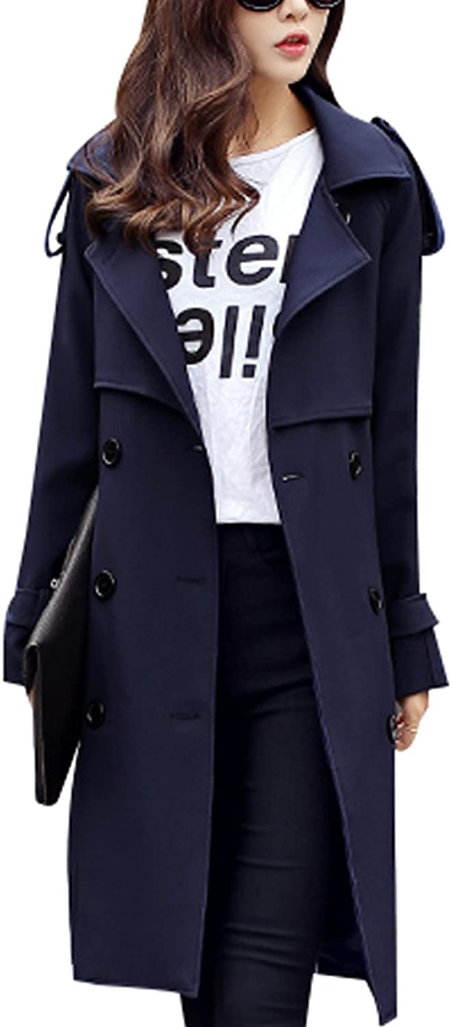 Zoulee Women's DoubleBreasted Suit Collar MidiLength Trench Coat with Belt