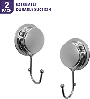 Fortune Candy Stainless Steel Suction Cup Hooks - Pure Design, Mirror Effect, Heavy Duty - Single/Dual Hook with Adhesive Mount Kit (2, Single Hook)