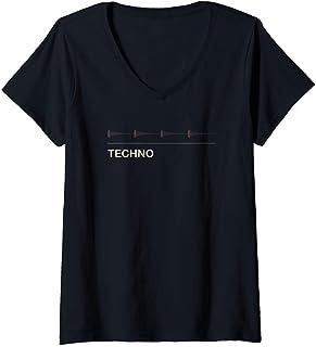 Mujer Sintetizador Kick Techno Audiowave Analog Synth Producer Camiseta Cuello V