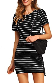 Floerns Women's Casual T-Shirt Dress Short Sleeve Striped Mini Dress Black and White M