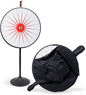 """MIDWAY MONSTERS 36"""" Customizable Dry Erase White Spinning Prize Wheel with Premium Protective Carry Bag Case, Extension Base, Extension Pole"""