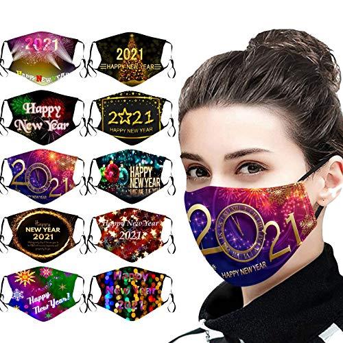 10 Stück 2021 Herren Damen Mundschutz Waschbar Erwachsene Schwarz Atmungsaktiv Mundschutz Mit 2021Motiv Masken Bandana Baumwolle Mund und Nasenschutz Halstuch für Herren Damen