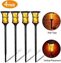 Mooseng Solar Torch Outdoor Upgarded IP65 Waterproof Decorative Flickering Flame Powered 96LED Dusk to Dawn Path Light Perfect for Garden,Lawn,Front Door,Yard,Wall lamp, 4-pcs