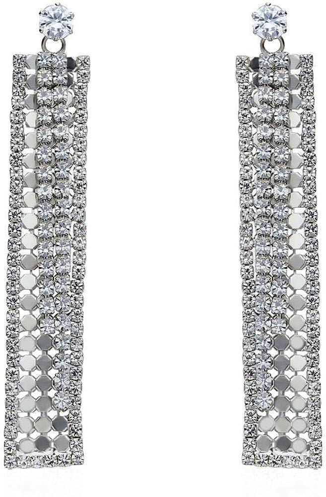 Stroili  orecchini per donna pendenti rettangolari con strass in metallo silver 1666169
