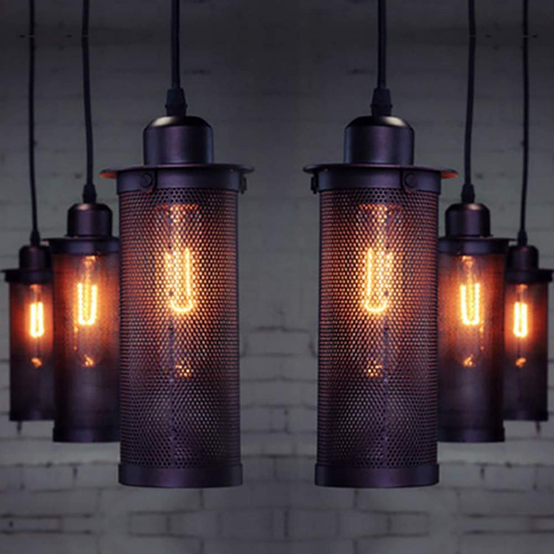 Fretwork engrener Lustre Unique Tête Led Luminaires Rétro Industrie Du Fer Art Creative Café Bar E27 Noir