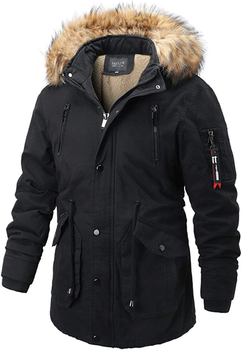 chouyatou Men's Winter Thick Spliced Sherpa Lining Winter Parka Coat Faux Fur Hood