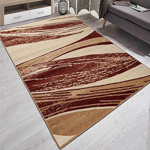 Carpeto Designer Teppich Modern Gestreift Kurzflor Meliert In Braun - ÖKO Tex (200 x 300 cm)