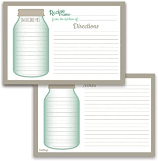 Mason Jar Recipe Cards from Dashleigh, 4x6 inches, Set of 50, Water-Resistant