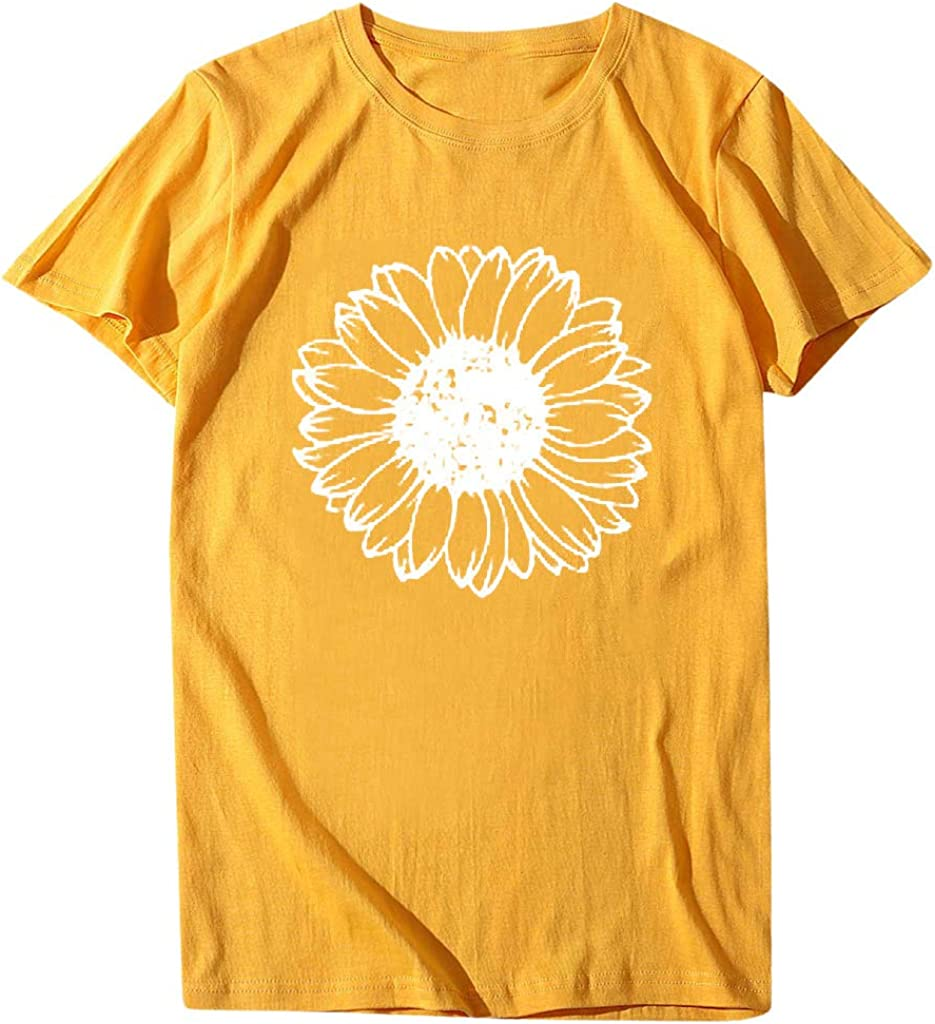 ORT T-Shirts for Women, Florboom Plus Size Womens Clothes Short Sleeve O Neck Tops Casual Loose Fit Basics High Low T Shirts