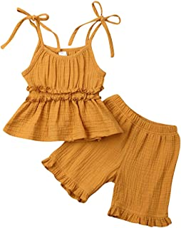 JBEELATE Baby Girls Cotton Linen Shorts Outfits Ruffle Sleeveless Tank Top Bloomers Summer Solid Clothes Two Pieces