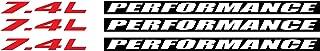 Tower Decals 7.4L [Gloss Black] Performance [Gloss Black] Hood Vinyl Decal Emblem Fits Chevrolet (Inverted) 0258