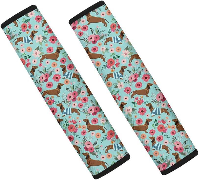 Advocator Seat Belt Cover 2 Packs Soft Fashion Car Seat Belt Pad Cover Seat Belt Shoulder Pads for Adults Kids Girls Women Lady Dachshund Floral Dog Pattern