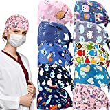 Geyoga 10 Pieces Bouffant Caps with Buttons Adjustable Bouffant Hat Breathable Turban Cap Sweatband Bouffant Hats Tie Back Hats