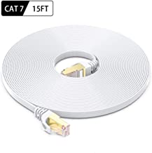 CAT-7 Ethernet Cable 15 Feet - High Speed Flat Internet Network Computer Patch Cord - Faster Than Cat6 Cat5e Lan Wire, Shielded RJ45 Connectors for Router, Modem, Xbox, Printer - White