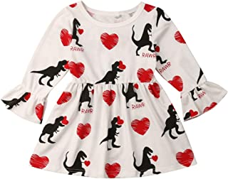 Baby Girl Valentine's Day Dress Love Heart Dinosaur Ruffled Long Sleeve Party Dress