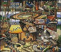 クロスステッチ刺繡スターターキット刻印クロスステッチキット11カラット収納猫16x20インチ初心者大人DIY刺繡クロスステッチ用品針仕事家の装飾
