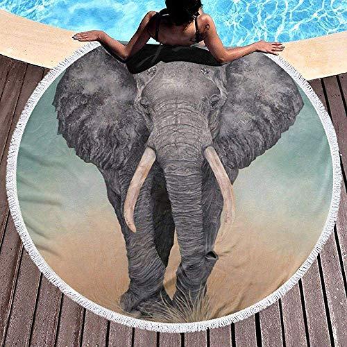 AEMAPE Toalla de Playa Redonda Manta Elefante Gigante Toallas de Playa Alfombra de Picnic Hombres