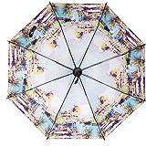Langchao Sunny Paraguas sombrilla de Vinilo Parasol Protector Solar Estilo Chino Tinta Plegable Arte Antiguo Lago de Las Flores de los cisnes Flor Interior