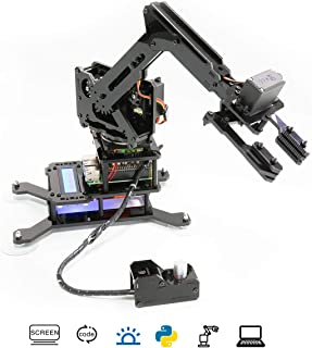 Adeept RaspArm 4-DOF Robotic Arm Kit for Raspberry Pi 4/3 Model B/B+/2B | WiFi STEAM Robot Arm Kit with Python PC Software and Remote Control | with Tutorials via Link