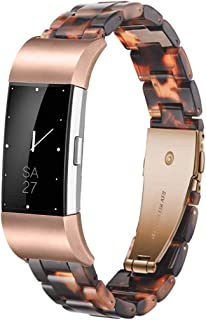 Ayeger Resin Band Compatible with Fitbit Charge 2/2 HR,Women Men Resin Accessory Rose Gold Buckle Band Wristband Strap Blacelet for Fitbit Charge 2/2 HR Smart Watch Fitness(Tortoise)